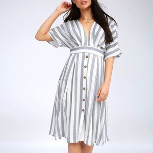 Lulus Pier of Influence Blue/White Striped Dress S